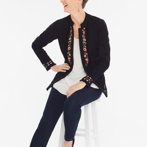 Chico's Black Floral Embroidered Jacket